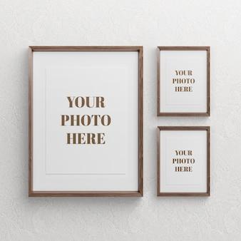 Houten fotolijst mockup ontwerp geïsoleerd