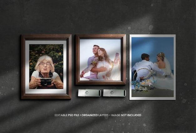 Houten fotolijstmodel met schaduwoverlay