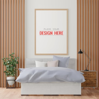 Houten frame mockup interieur in een slaapkamer