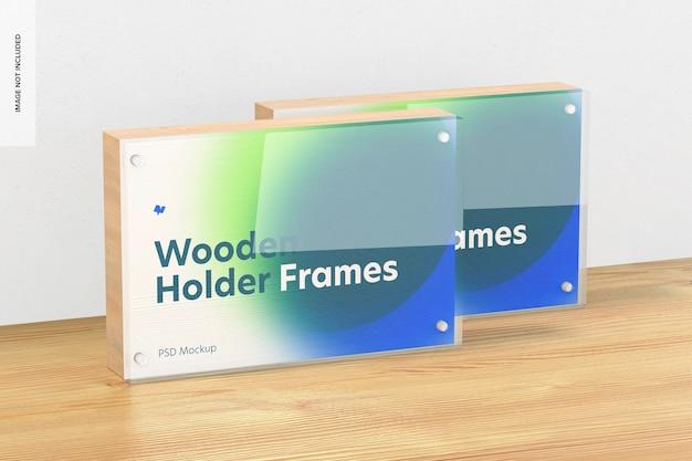 Houten labelhouder frames mockup