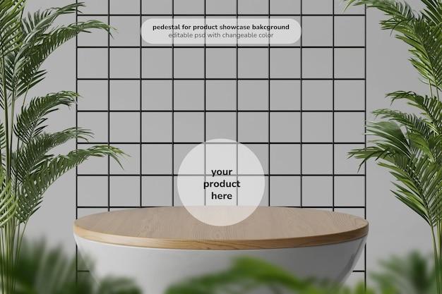 Houten minimale ronde tafelonderstel voor product met palmplanten in het midden