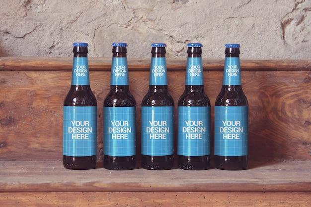 Houten plank bier mockup