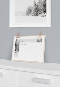 Houten plank ondersteuning voor kalender