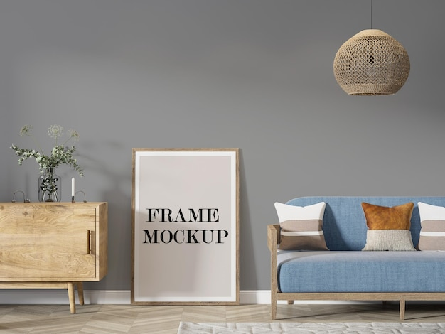Houten poster frame achtergrond leunend tegen muur