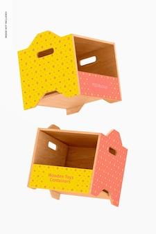 Houten speelgoedcontainers mockup, drijvend