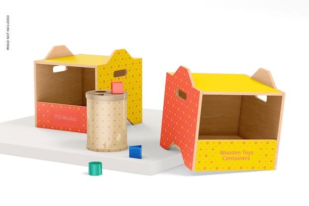 Houten speelgoedcontainers mockup, perspectief