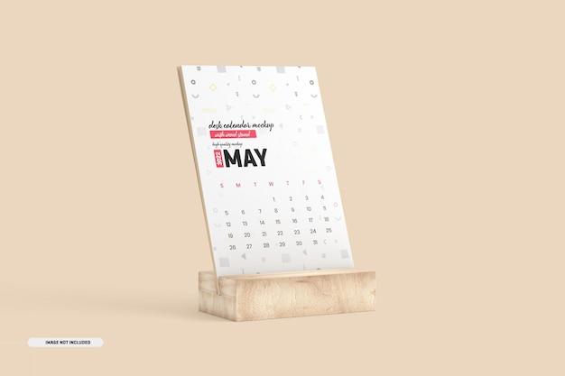 Houten standaard bureaukalender mockup