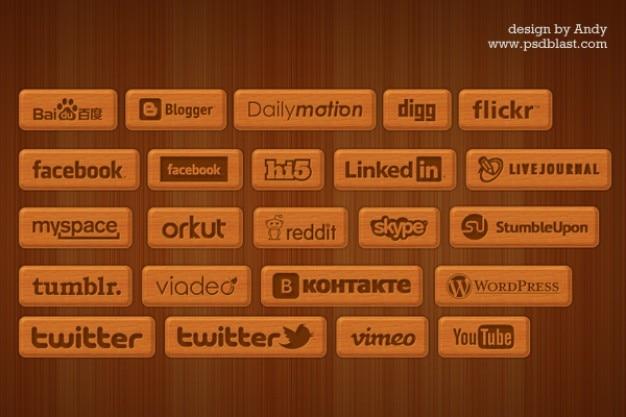 Houten stijl sociale pictogrammen