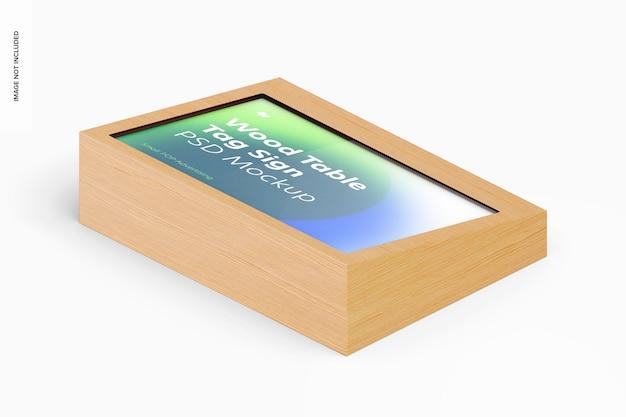 Houten tafel reclame tag teken mockup, isometrische weergave