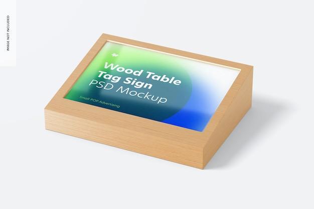 Houten tafel reclame tag teken mockup