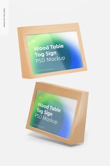 Houten tafel reclame tag tekenen mockup, drijvend