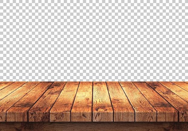 Houten tafelblad geïsoleerd op transparant
