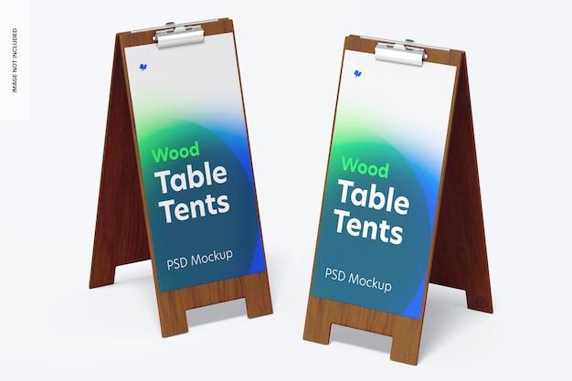 Houten tafeltenten met clipmodelperspectief