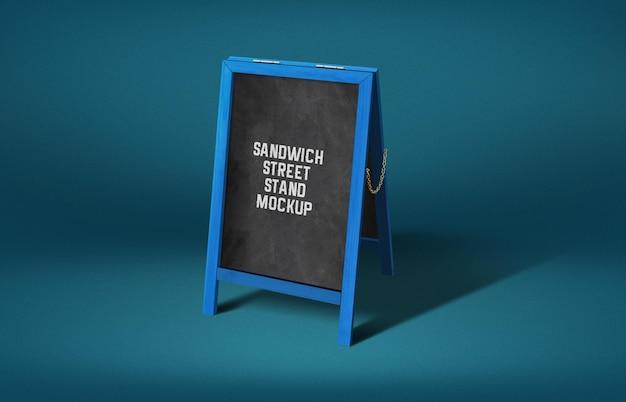 Houtgeschilderde sandwich street stand mockup