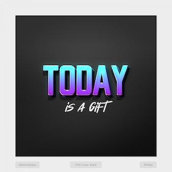 Hoy es un regalo de efecto de estilo de texto en 3d