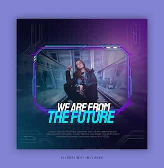 Hud futuristische stijl instagram banner sjabloon