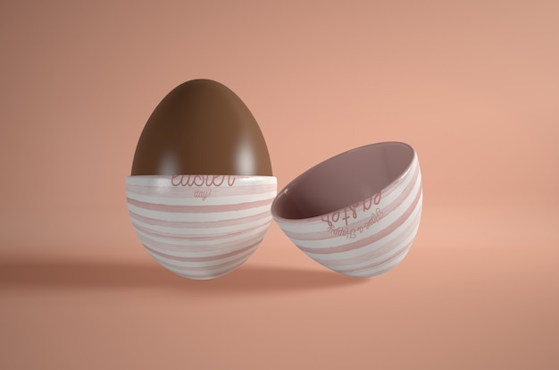 Huevo de chocolate de alto ángulo en la mesa