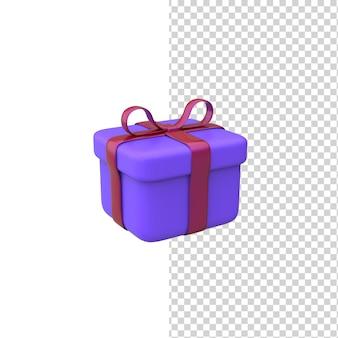 Huidige doos 3d-renderingmodel paars geschenk met rode strik geïsoleerde witte achtergrond