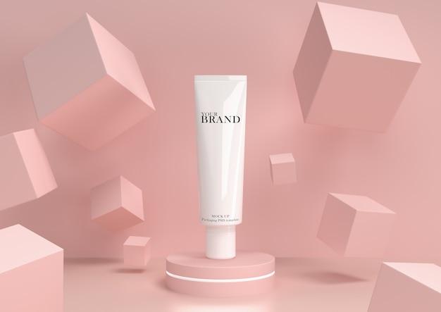 Huidverzorging hydraterende cosmetische premium producten met abstracte achtergrond.