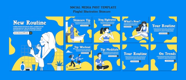 Huidverzorging routine social media postsjabloon