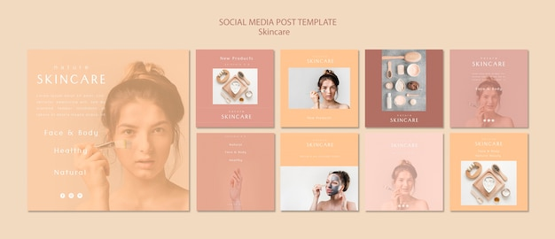 Huidverzorging social media postsjabloon