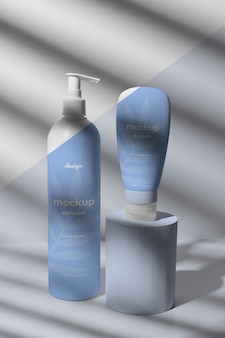 Huidverzorgingsproducten mock-up arrangement