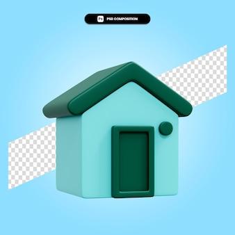 Huis 3d render illustratie geïsoleerd