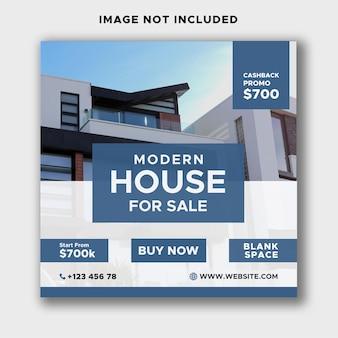 Huis huis onroerend goed flyer vierkante instagram of banner advertentiesjabloon