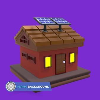 Huis met behulp van zonne-energie. 3d illustratie