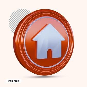 Huis pictogram 3d render geïsoleerd