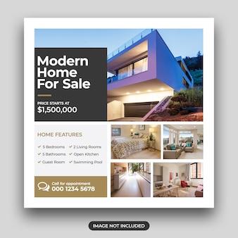 Huis te koop sociale vierkante flyer-sjabloon