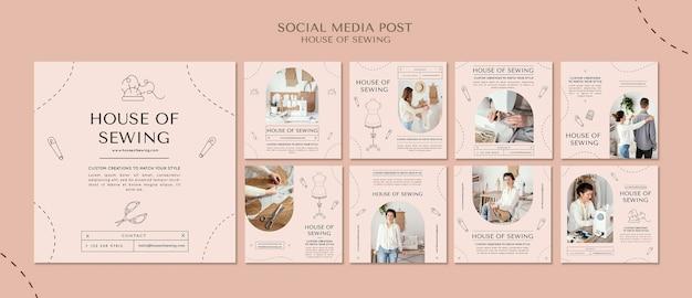 Huis van het naaien van sociale mediapost