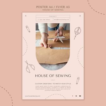 Huis van naaien poster sjabloon
