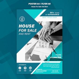 Huis verkopen poster sjabloon