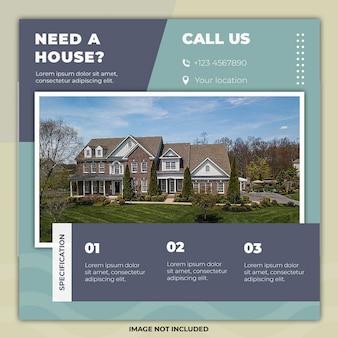 Huis voor verkoop sociale media postbannersjablonen