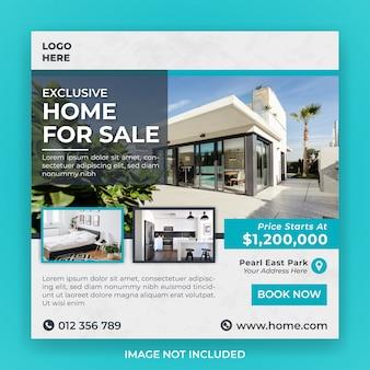 Huis voor verkoop sociale media-sjabloon voor spandoek
