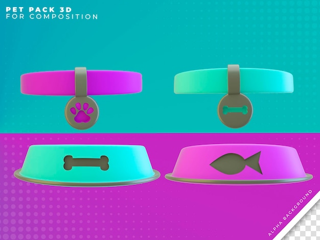 Huisdier objecten 3d render voor compositie