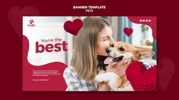 Huisdieren horizontale banner met foto