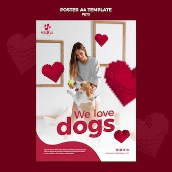 Huisdieren poster sjabloon met foto