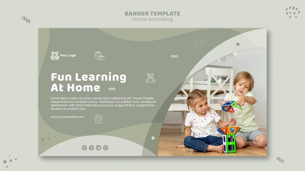 Huisonderwijs sjabloon voor spandoek