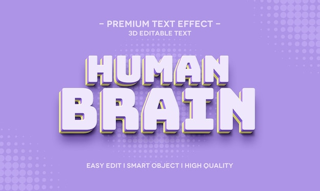 Human brain 3d text style effect-sjabloon