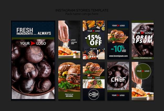 Humeurig voedsel restaurant instagram verhalen sjabloon