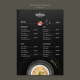 Humeurig voedsel restaurant poster concept mock-up