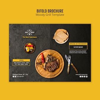 Humeurige grill tweevoudige brochure sjabloon