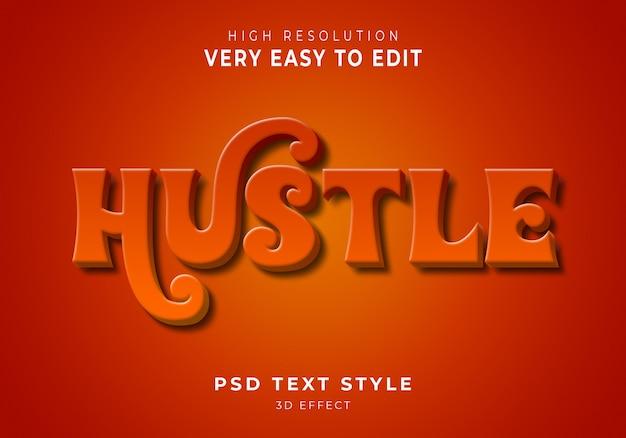 Hustle 3d efecto de texto moderno
