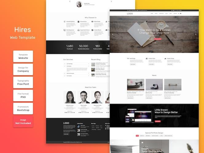 Huurt websjabloon voor bedrijven en bureaus