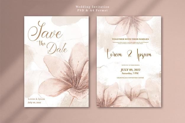 Huwelijksuitnodiging met aquarel rose gouden bloem