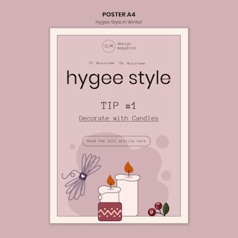 Hygge stijl decoratie poster sjabloon