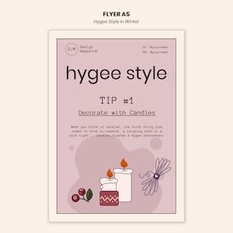 Hygge stijlsjabloon decoratie folder