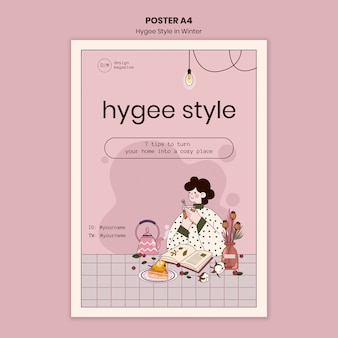 Hygge stijltips poster sjabloon